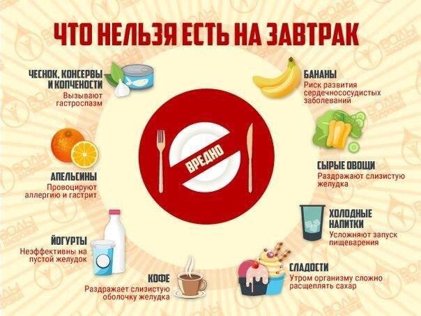 Какие продукты нельзя есть утром натощак, а какие перед сном